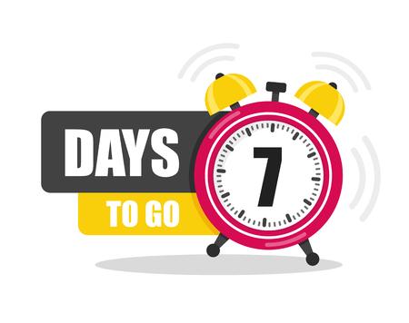 Número de 7 días para ir al icono plano. Vector stock ilustración plana