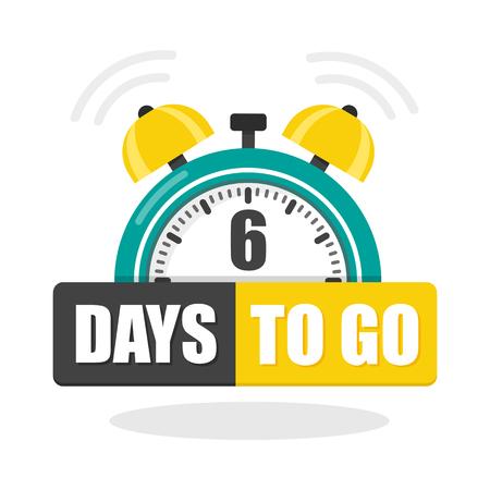 Numero di 6 giorni per andare icona piatta. Illustrazione piana di riserva di vettore