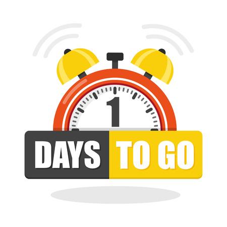 Number of 1 days to go flat icon. Vector stock flat illustration. Ilustração Vetorial
