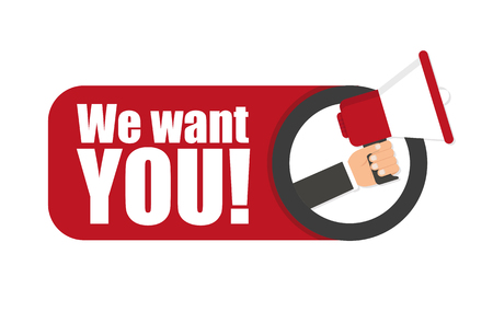Hand hält Megaphon - Wir wollen dich