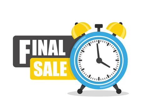 Final sale flat icon, logo with alarm clock vector ЛОГОТИПЫ