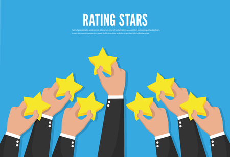 Feedback recognition. Rating stars. Flat design