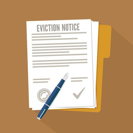 Eviction notice form. Concept flat icon Vektorové ilustrace