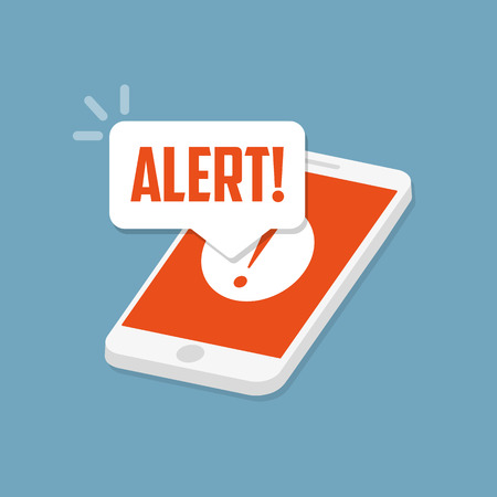 Alert notification on the smartphone screen. Flat vector