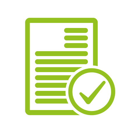 Project completed vector icon. Signed approved document icon. Illustration