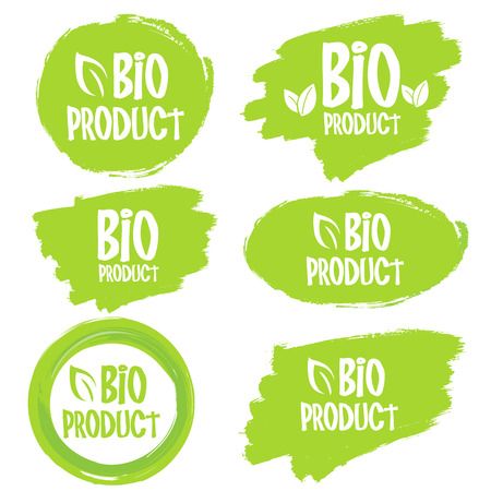 Bio Product, organic leaves emblems, stickers or logo