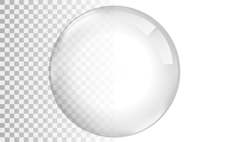 Transparent glas. White pearl, water soap bubble, shiny glossy orb realistic design elements