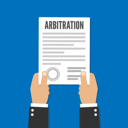 Arbitration law vector flat icon. Legal resolution conflict  イラスト・ベクター素材