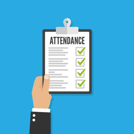 Attendance concept. Businessman holding checklist. Vector flat design Ilustrace