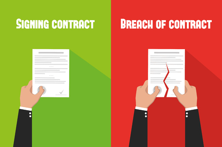 Concept of disagreement. Business documents. End deal. Contract icon agreement