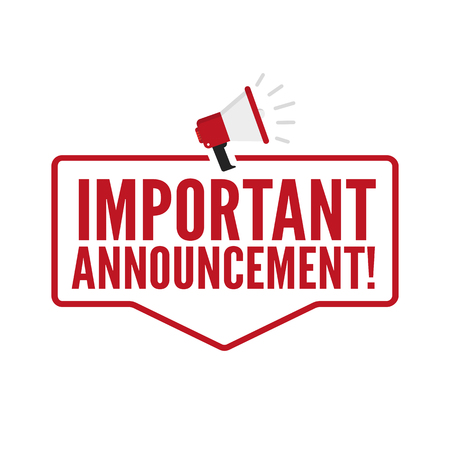 Important Announcement. Vector flat icon Stock Illustratie