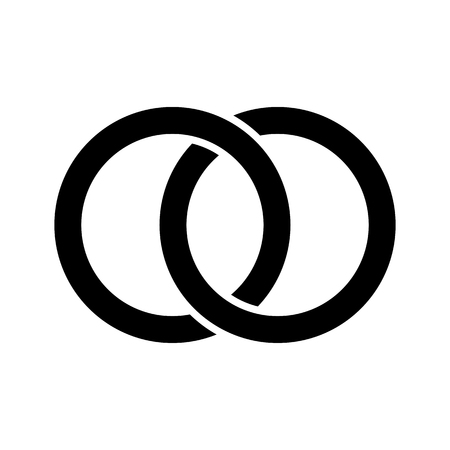 Interlocking circles, rings concept icon