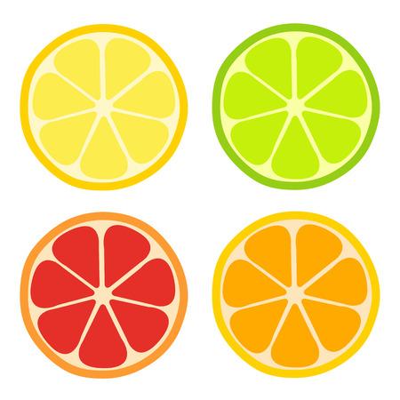 Citron, citron vert, icône plate orange. Ensemble d'agrumes vecteur