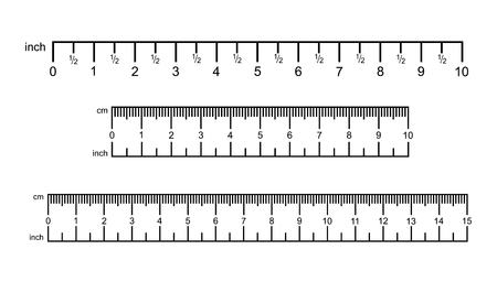 Inch and metric rulers. Precision measurement centimeter icon tools, size indication ruler tools. Vector