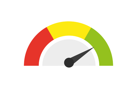 Speedometer icon or sign with arrow. Vector illustration. Çizim