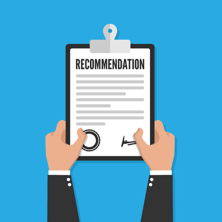 Recommendation clipboard with checklist. Flat design, vector