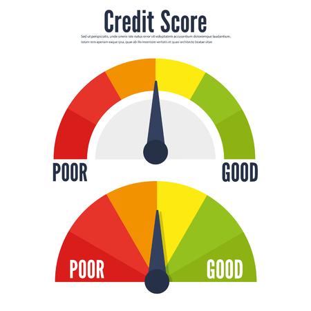 Credit score speedometer scale flat icon