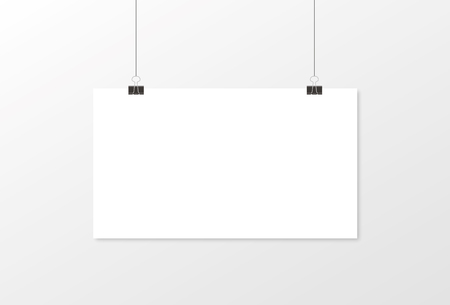 White poster hanging. Mock up empty paper blank. Vertical and horizontal template. Vector illustration Vektorové ilustrace
