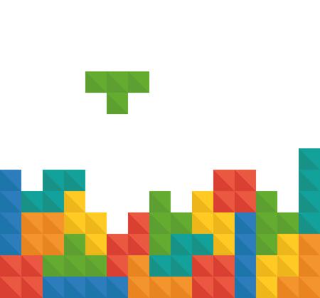 Tetris pixel bricks game vector template Illustration