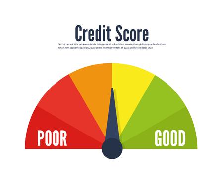 Credit score speedometer scale flat icon Çizim