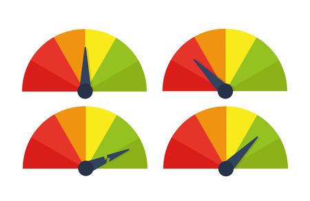 Speedometer icon or sign with arrow. Vector illustration. Stock Illustratie