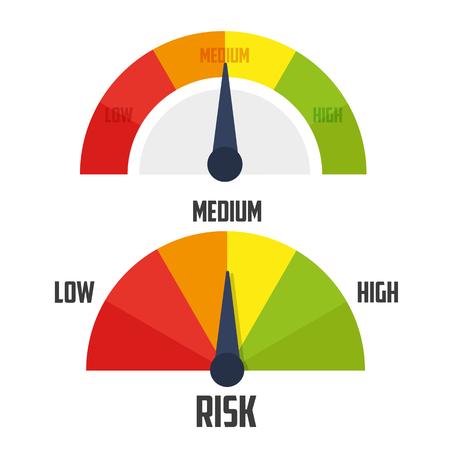 Risk concept on speedometer. vector illustration concept image icon Ilustração Vetorial