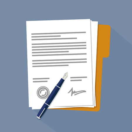 Contract papers or documents Ilustrace