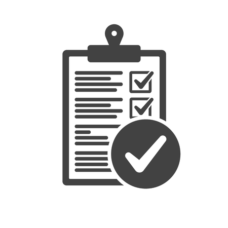 Clipboard and check mark vector icon. Compliance regulations rules flat
