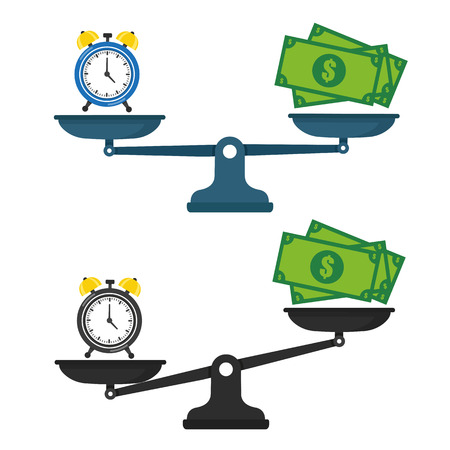 Time vs money on scales illustration icon.