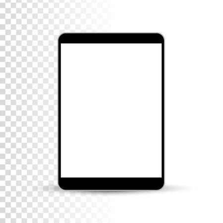 Realistic tablet pc computer on transparent background. Vector illustration. Illustration