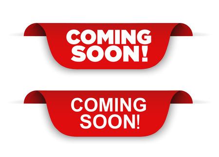 Banner Coming soon. Vector ribbon banner