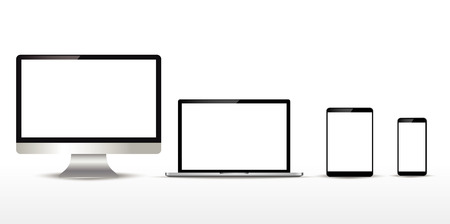 Realistic set of monitor, laptop, tablet, smartphone. Vector