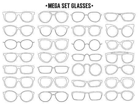 Sun glass line icon. Vector mega set