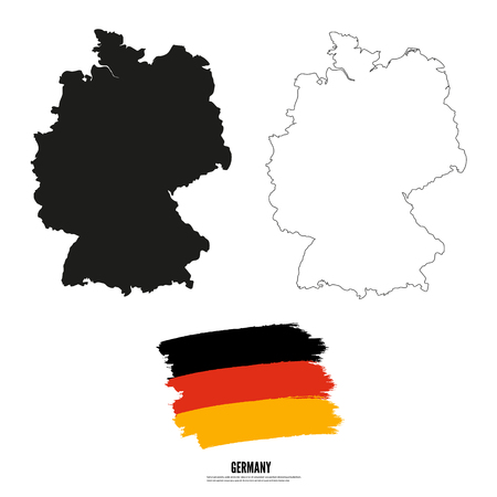 Detailed vector map and flag - Germany vector illustration