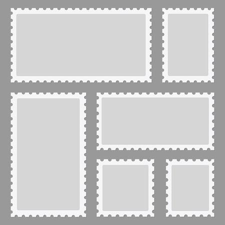 Postage stamps frames set on background. Vector illustration.