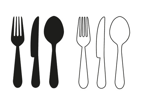 Knife, fork and spoon. Let's cook labels and logo elements