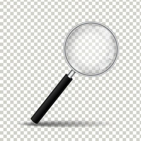 Lente d'ingrandimento realistica su sfondo trasparente, illustrazione vettoriale Vettoriali