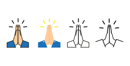 Vector folded hands set icon vector illustration