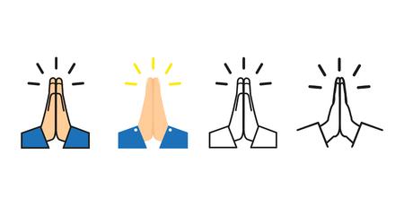 vecteur, mains pliées, ensemble, icône, vecteur, illustration