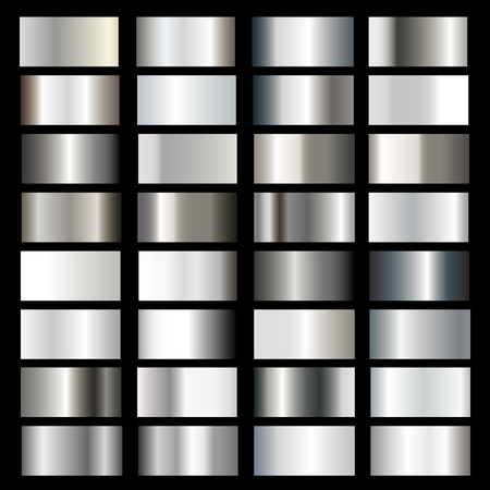 Vector collection of silver metallic gradients, chrome gradient set