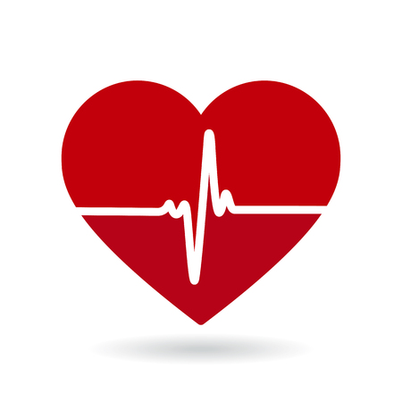 Icône de vecteur de ligne de battement de coeur. Cardiogramme, logo de santé