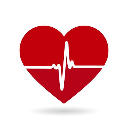 Icono de vector de línea de latido del corazón. Cardiograma, logotipo de salud