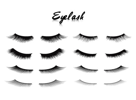 Eyelash extension mega set 8 in 1. Long eyelashes. False beauty cilia. Glamor makeup. Vector illustration
