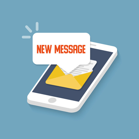 New message on the smartphone screen. Vector illustration. Illustration