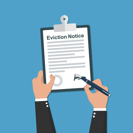 Eviction Notice legal documents. Clipboard in hands flat icon
