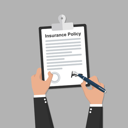 Insurance policy contract in hand flat icon Ilustração