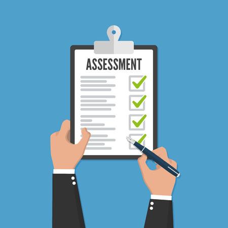 Holding clipboard checklist with assessment flat icon Ilustração