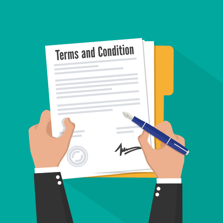 Terms and condition of document signed flat icon 일러스트