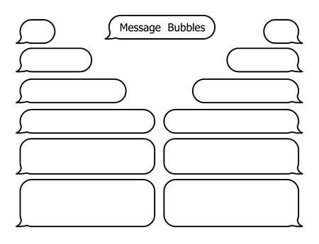 Smartphone SMS chat bubbles line set. Vector illustration