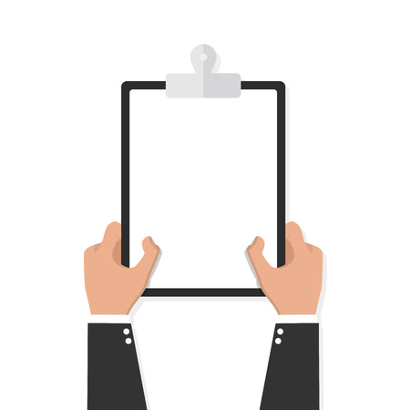 Hands holding clipboard with empty sheet vector icon